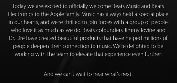 APPLEBEATSINSIEME 620x291 Apple ufficializza Beats, si aggiornano i siti di entrambe le aziende