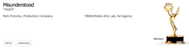 Emmy Award1 620x160 Lo spot natalizio di Apple Misunderstood viene premiato ai Creative Arts Emmy Award