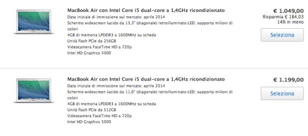 applericondizionati1 620x275 I MacBook Air 2014, presentati da Apple recentemente, sono già presenti tra i ricondizionati, dove si trovano ad un prezzo più conveniente