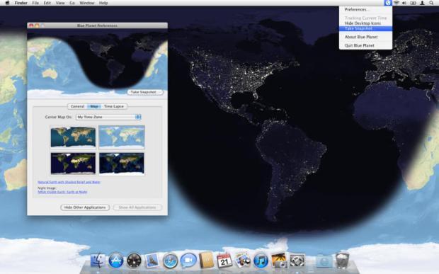 worldmac 620x387 Blue Planet unApp per Mac che mostra come sfondo immagini satellitari della Terra seguendo l'orario giornaliero