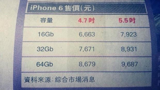 iPhone 6 Prices 620x349 [Rumors] Immagini che riguardano i prezzi dei nuovi iPhone da 4,7 e 5,5