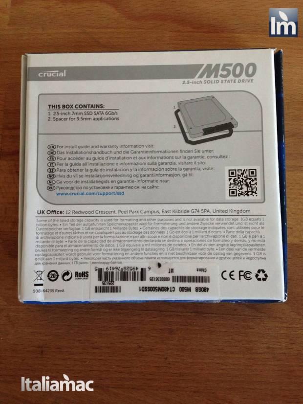 04 Crucial SSD M500 480GB 620x826 Gallery: Montaggio SSD Crucial M500 da 480 GB su MacBook Pro 17