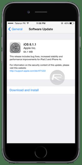 iOS Screenshot Apple rilascia iOS 8.1.1 per iPhone, iPad e iPod touch