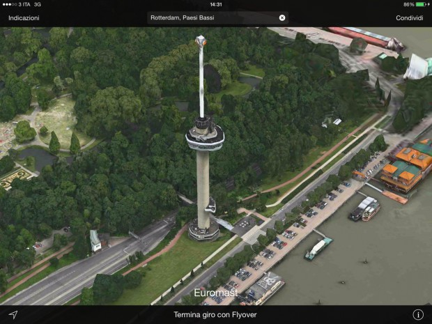 FlyOverApple1 620x465 Apple aggiorna il FlyOver di Mappe con la città di Torino ed altre città europee