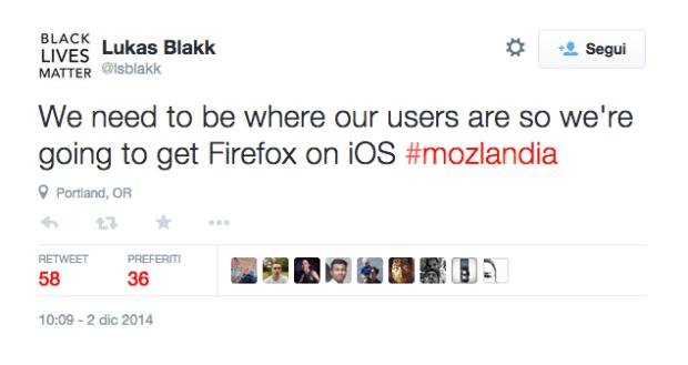 tweetfirefox 620x329 Modzilla tenta ancora il grande colpo: Firefox in arrivo su iOS