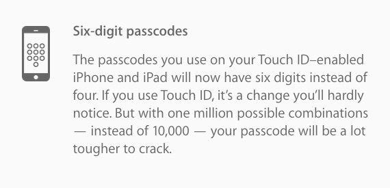 six digit passcodes Dite addio al codice di blocco con 4 caratteri su iOS 9