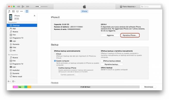 alt ripristina Guida al downgrade da iOS 9 ad iOS 8.4.1