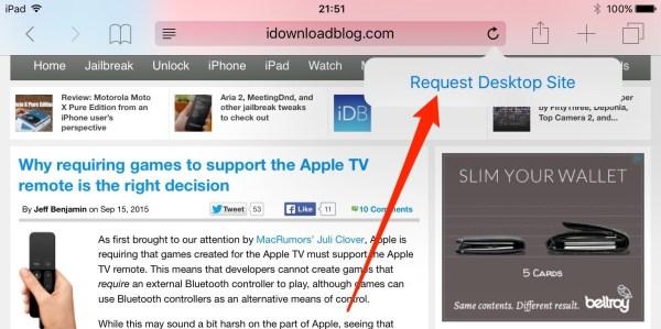 ios 9 request desktop site ipad screenshot 001 Come richiedere la versione di un sito desktop in Safari con iOS 9