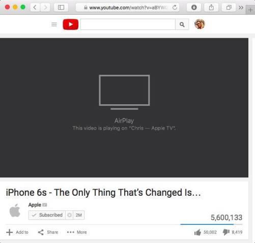 el capitan airplay video in safari mac screenshot 002 Come inviare video in wireless dal vostro Mac alla TV