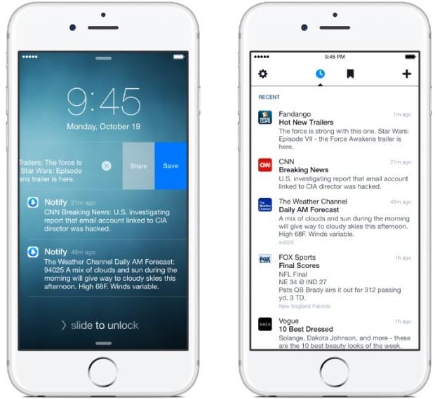notiffy for ios iphone screenshot 003 620x570 Facebook rilascia Notify per iPhone, un servizio di news, sport e molto altro