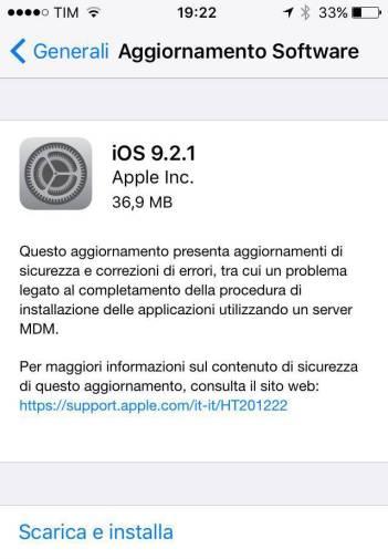 ios 9.2.1 Apple rilascia iOS 9.2.1 con diverse correzioni di errori