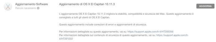 schermata 2016 01 19 alle 19.09.56 Apple rilascia OS X 10.11.3 El Capitan