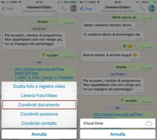 allegato documento Arriva la funzione Condividi Documento su Whatsapp