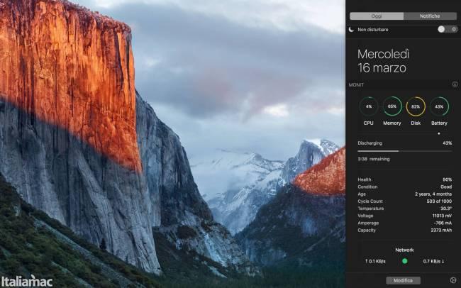 monit mac app Monitorare la temperatura della CPU, la velocità delle ventole del Mac tramite centro notifiche