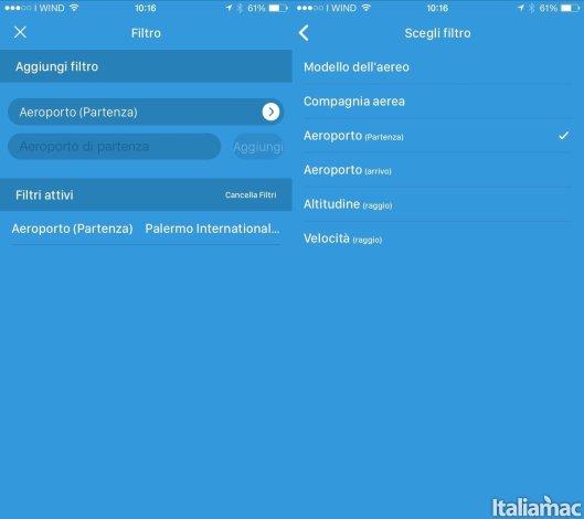 aeroplani live filtro Aeroplani Live: Lapp per tenere sotto controllo i voli aerei