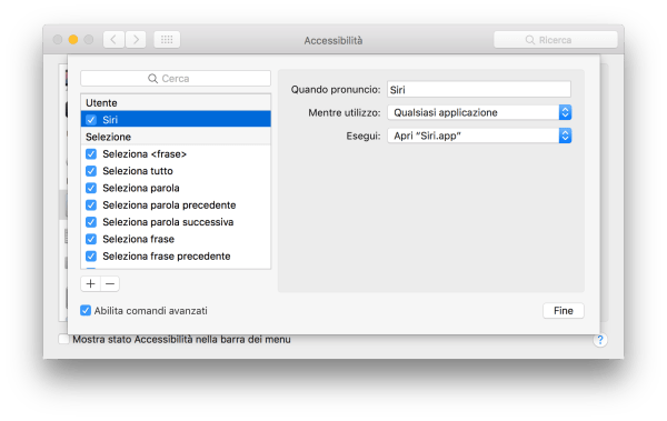 Siri comandi avanzati macOS Sierra