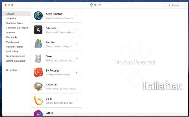 Interfaccia di ricerca delle applicazioni di SetApp