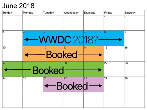 italiamac june 2018 san jose mcenery calendar 800x603 WWDC 2018 sarà al San Jose il 4 Giugno?