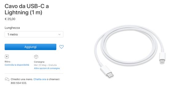 italiamac schermata 2018 05 21 alle 22.03.01 Apple taglia i prezzi dei cavi USB C a Lightning