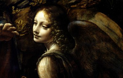 Detail of the Angel Uriel from Leonardo da Vinci's Virgin of the Rocks.