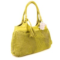 Lazetti Italian Made Yellow Lime Perforated Leather ...