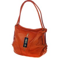 Stephen Italian Made Orange Leather Top Handle Designer ...