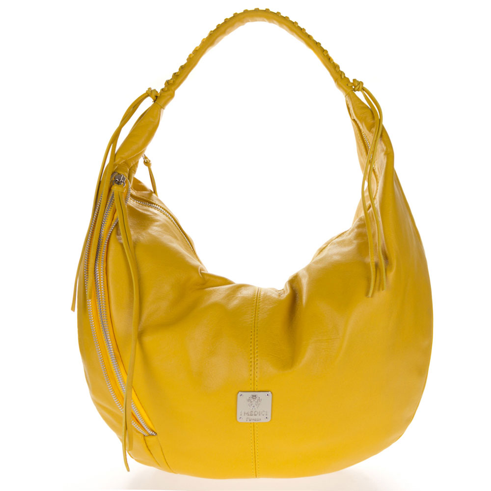 Medichi Italian Made Yellow Leather Zip Front Pocket Large Hobo Bag