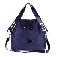 Megghi Italian Designer Blue Leather Large Tote Handbag
