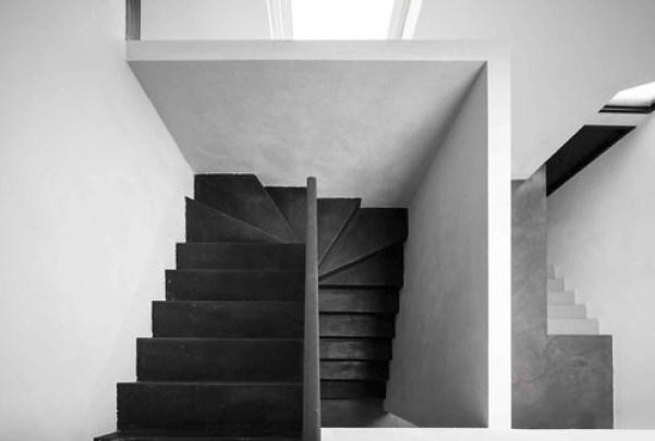 black stairs, Italian home interior