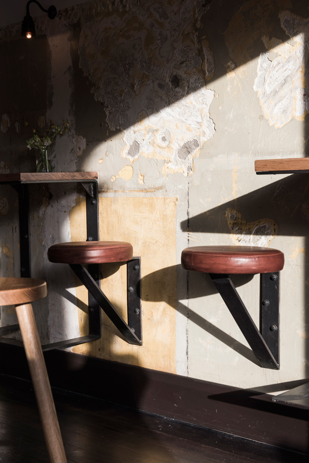 industrial bar, industrial bar design, rustic bar design, rustic and industrial bar design in Australia, The Nelson - leather vintage stools