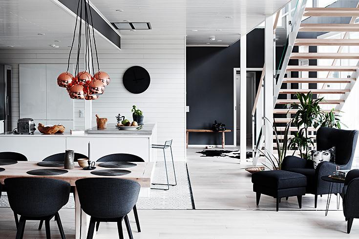 finnish home interior, finland home decor, wall gallery, black wall decor, gallery wall idea, copper pendant light, black wall clock
