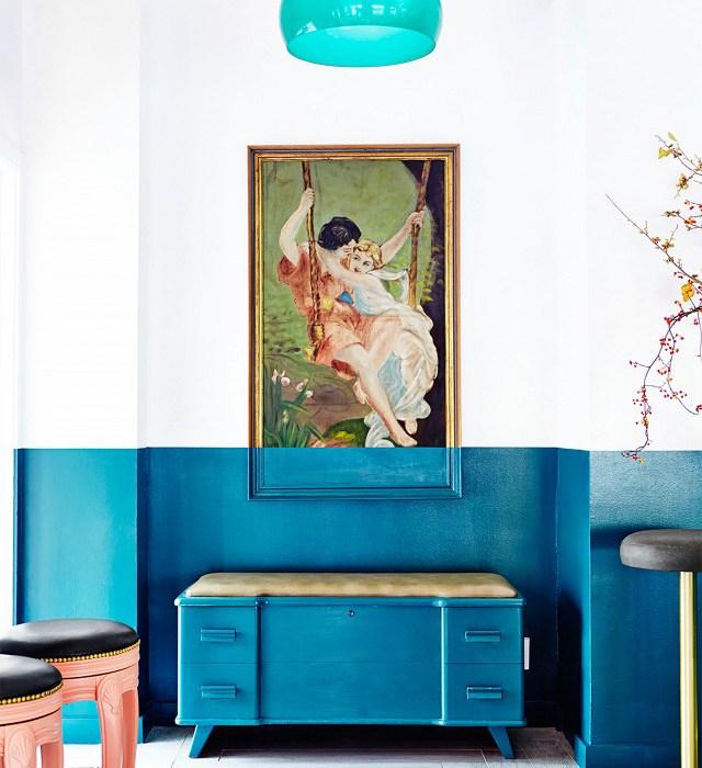bar design, gastrobar, bar interior, restaurant design, design bar ny, blue wall, blue wall decor, ly kartell, turquoise lamp, brass stool