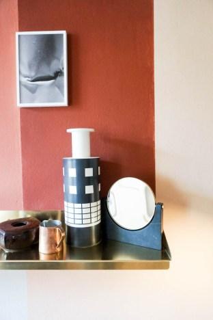 the visit studiopepe, brera design apartment, studiopepe milan design week, fuorisalone 2017, italianbark interior design blog, , terracotta wall, golden shelves
