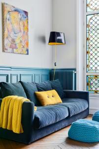 colourful apartment in paris, paris interior, turquoise interior, italianbark interior design blog, yellow lamp, yellow pillow