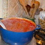Pots of Bolognese Sauce Simmering While Grading Exams