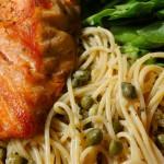 Whole Wheat Spaghetti with Salmon, Lemon and Basil