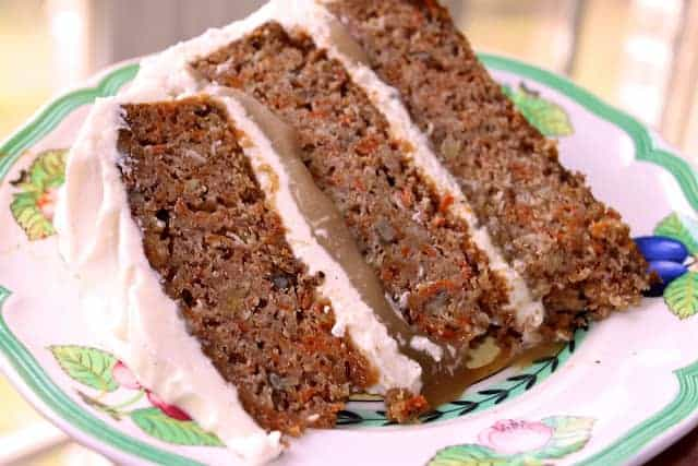 Carrot Cake with Praline Filling and Cream Cheese Frosting