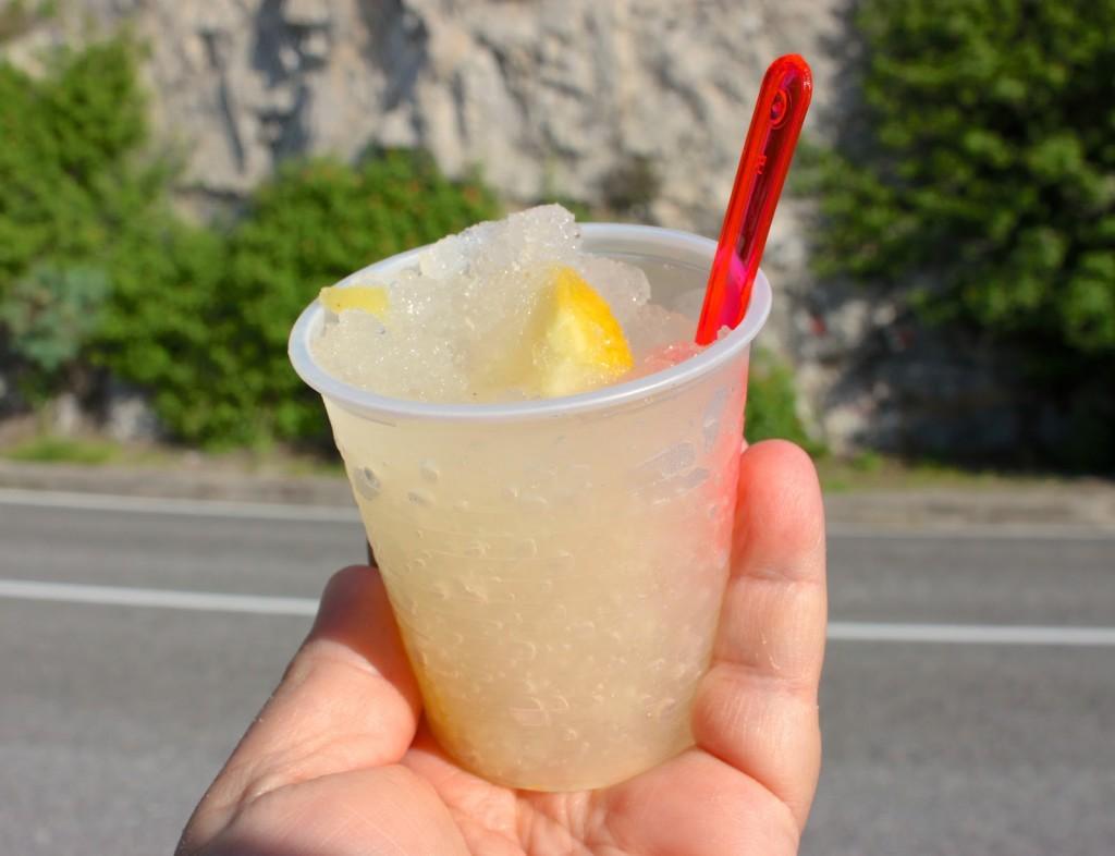 lemon granita enjoyed while driving along the steep cliffs of the Amalfi Coast, Italy