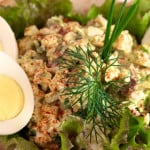 Mediterranean Egg Salad with Green Olives, Pancetta and a Touch of Gorgonzola Cheese