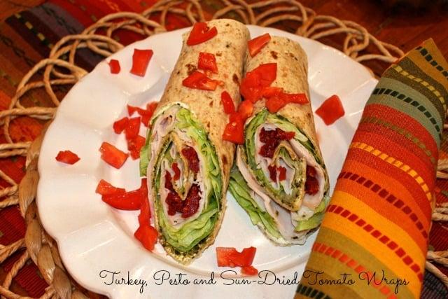 Turkey, Pesto and Sun-Dried Tomato Wraps