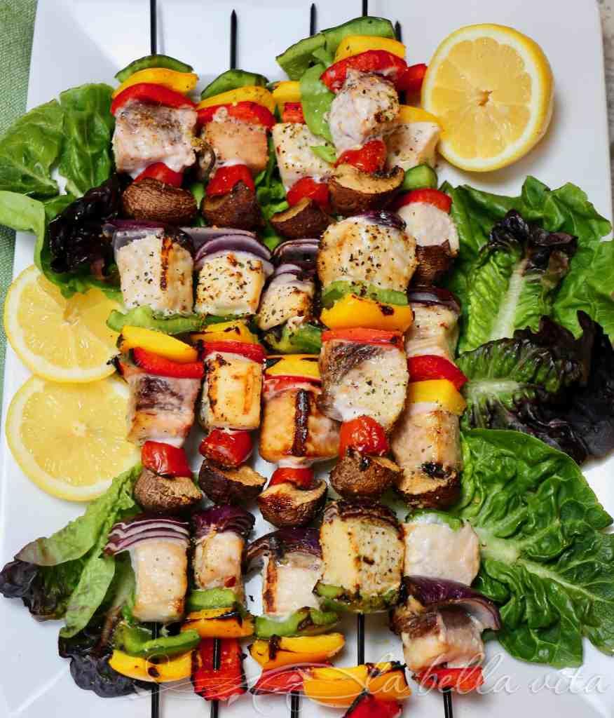 KETO Italian Grilled Swordfish Skewer Kabobs