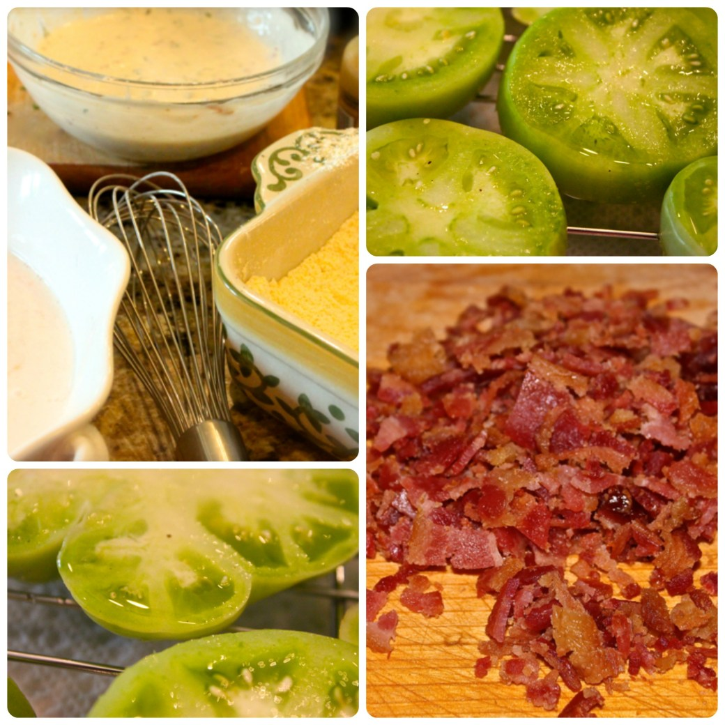 fried green tomatoes with garlic, bacon and buttermilk sauce