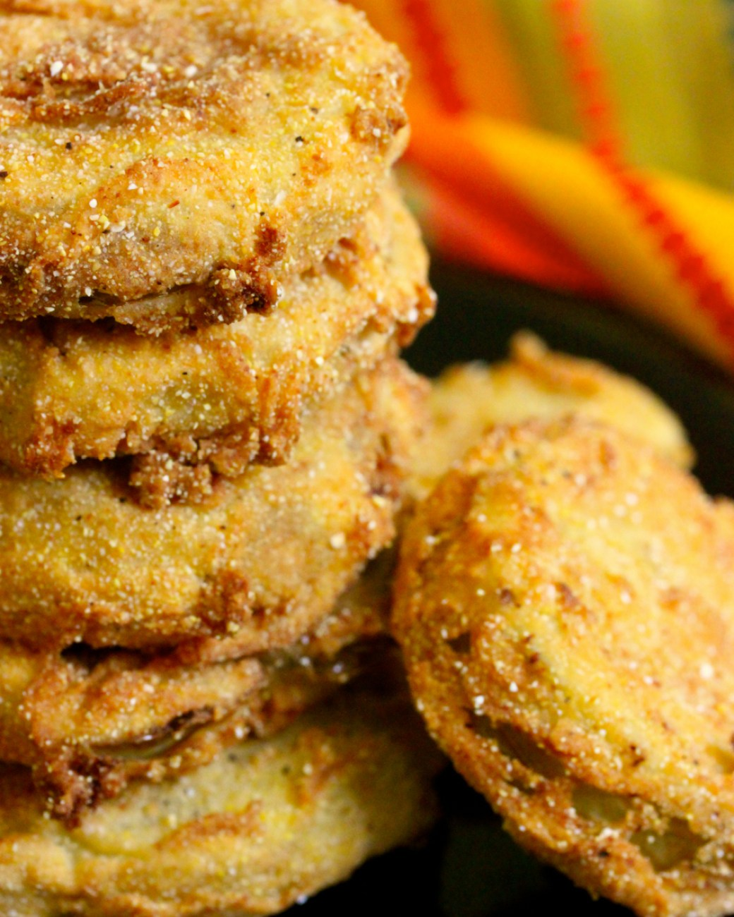 fried green tomatoes with bacon, garlic and buttermilk sauce