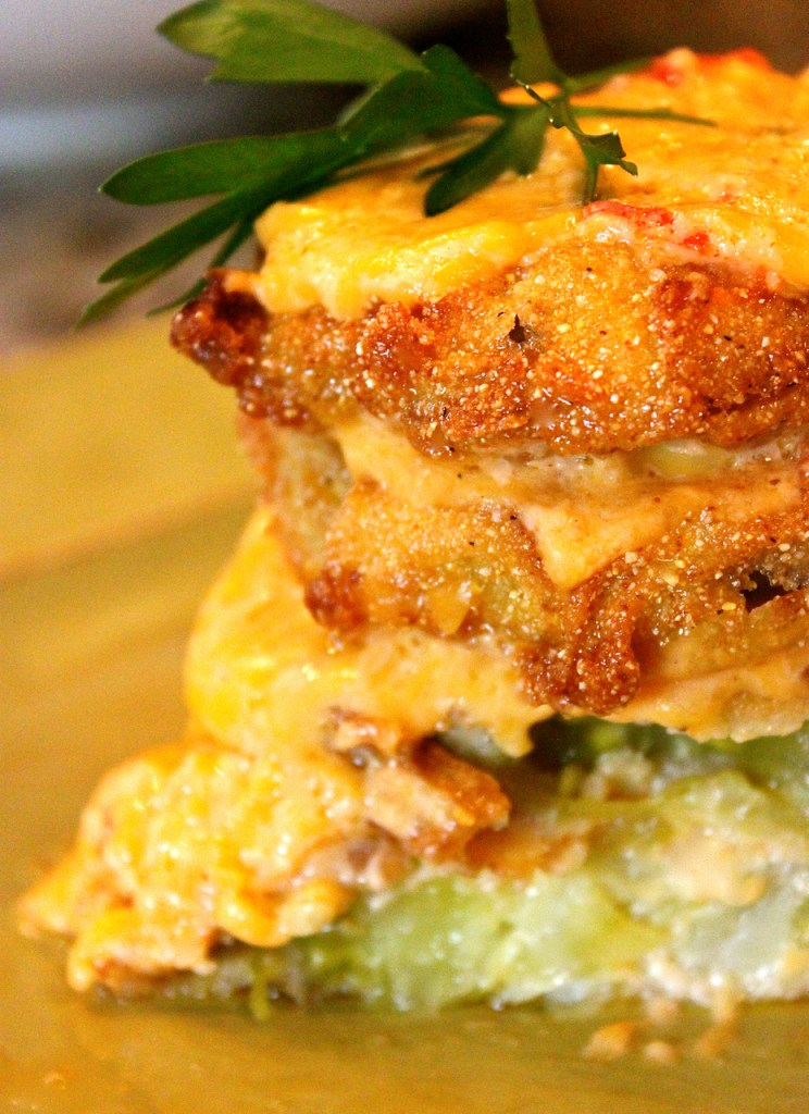 Fried Green Tomato Stacks with Jalapeno Pimento Cheese