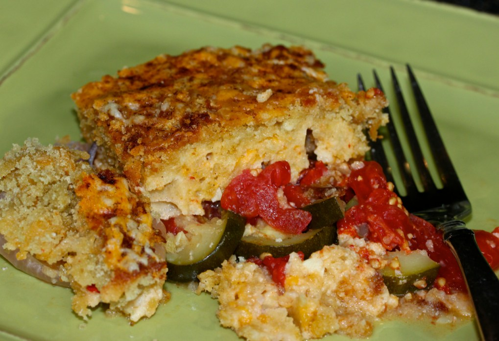 tomato and zucchini gratin with asiago cheese and pimento cheese