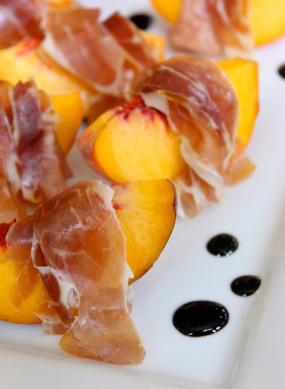 Peach and Prosciutto with Balsamic Glaze