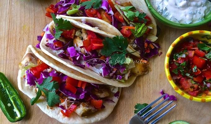 Baja Fish Tacos with Chipotle, Cilantro & Lime Crema