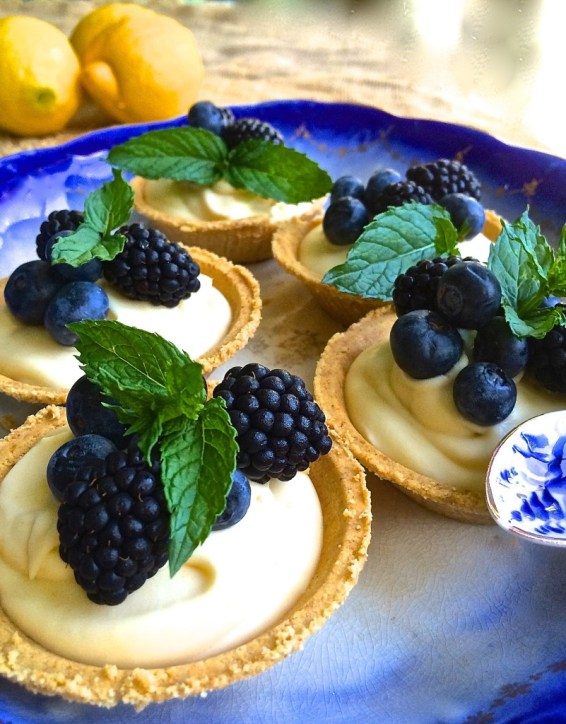Blackberry and Blueberry Limoncello Tarts