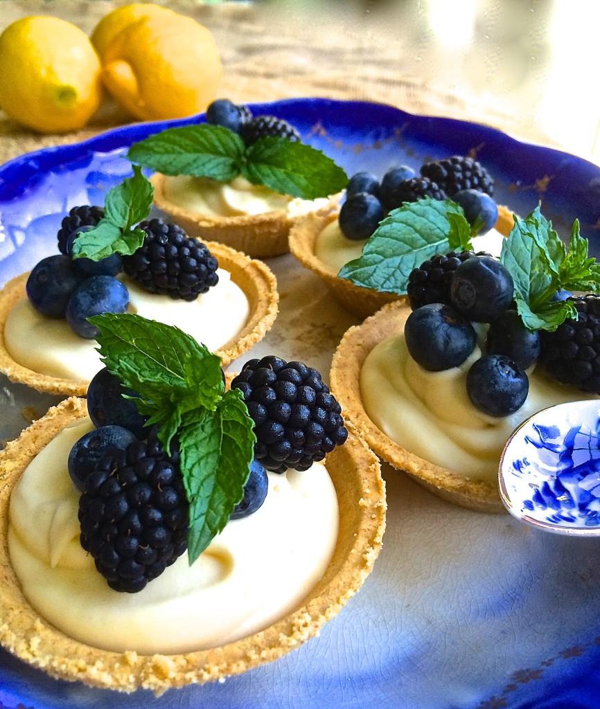 Blackberry and Blueberry Limoncello Tarts