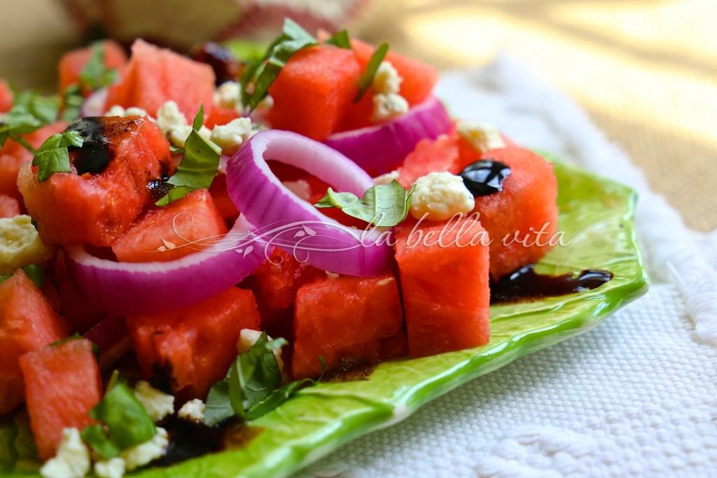watermelon, gorgonzola, and basil salad